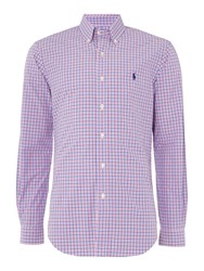 Polo Ralph Lauren Multi Gingham Slim Fit Long Sleeve Sports Shirt Pink