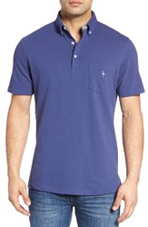 Tailorbyrd Men's Two Tone Pique Polo Denim Blue