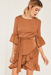 Missguided Brown Ruffle Hem Tie Waist Hammered Satin Dress Tan