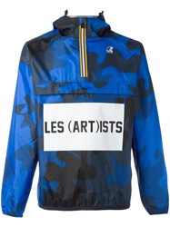 K Way Les Art Ists Logo Print Windbreaker Blue