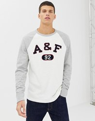Abercrombie And Fitch Logo Applique Baseball Sweatshirt In White Grey