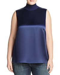 Lafayette 148 New York Plus Bonita Sateen Sleeveless Blouse Galaxy Blue