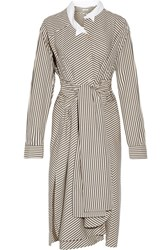 Loewe Striped Cotton Poplin Shirt Dress Cream