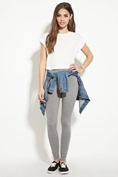 Forever 21 Heathered Knit Leggings Heather Grey