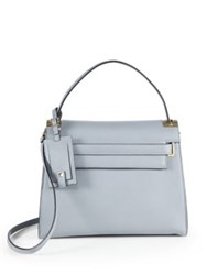 Valentino Leather Top Handle Satchel Grey Black