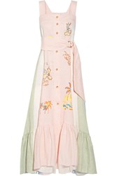 Peter Pilotto Embroidered Paneled Linen Maxi Dress Pastel Pink