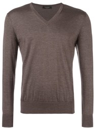 Ermenegildo Zegna V Neck Jumper Brown