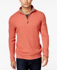 Tasso Elba Textured Quarter Zip Sweater Only At Macy's Coral Heather