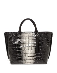 Botkier Quincy Embossed Leather Tote Black White Croc