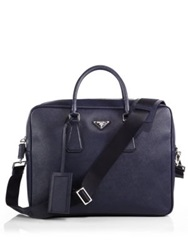 Prada Structured Leather Briefcase Baltic Blue