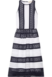 Michael Michael Kors Striped Broderie Anglaise Cotton Dress White