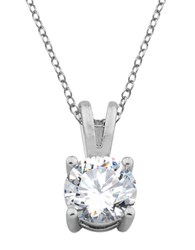 Lord And Taylor Sterling Silver Cubic Zirconia Drop Pendant Necklace