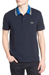 Lacoste Men's Semi Fancy Stripe Collar Pique Polo