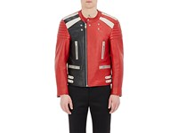 Maison Martin Margiela Men's Leather Racer Jacket Red No Color