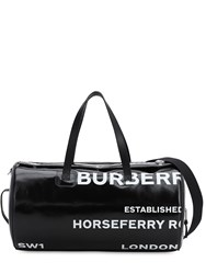 Burberry Kennedy Logo Print Canvas Duffle Bag Black