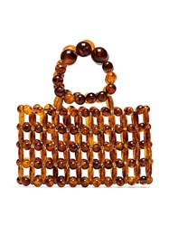 Cult Gaia Cora Beaded Tote Bag Brown