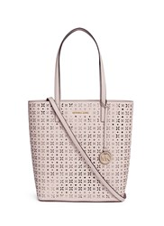 Michael Kors 'Hayley' Large Floral Perforated Leather Tote Pink