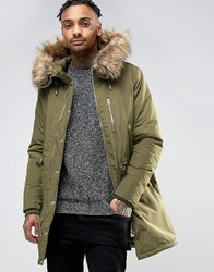 Pull And Bear Pullandbear Parka With Faux Fur Hood In Khaki Khaki Green