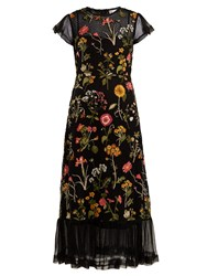 Red Valentino Floral Embroidered Cotton Mesh Dress Black Multi