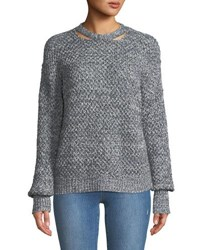 Ella Moss Delfina Cable Knit Pullover Sweater Blue