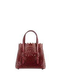 Alaia Micro New Vienne Laser Cut Leather Tote Bag Burgundy