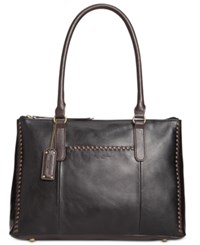 Tignanello Classic Whipstitch Vintage Tote Black Dark Brown