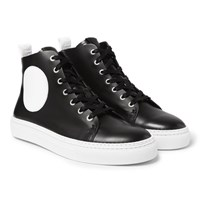 Mcq By Alexander Mcqueen Chris Panelled Leather High Top Sneakers Black