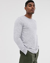 Bershka Knitted Jumper In Grey Marl