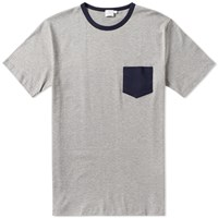 Sunspel Contrast Pocket Crew Neck Tee Grey