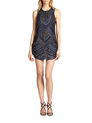 Parker Allegra Beaded Silk Tank Dress Phantom Navy