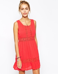 Element Cheesecloth Crochet Dress Coral