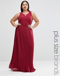 Lovedrobe Plus Maxi Dress With Pleated Skirt Purple