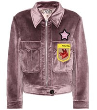Miu Miu Velvet Beaded Applique Jacket Purple
