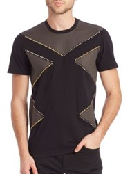 Versace Two Tone Studded Colorblock Tee Black