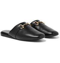 Gucci Pericle Horsebit Leather Slippers Black
