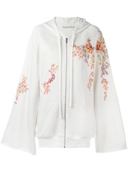 Amen Embroidered Flowers Zipped Hoodie Women Cotton Viscose 42 Nude Neutrals