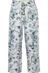 Adam By Adam Lippes Cropped Printed Cotton Wide Leg Pants Multi
