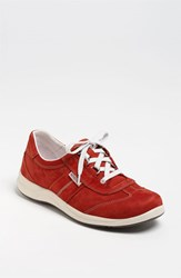 Women's Mephisto Laser Perforated Walking Shoe Red Nubuck