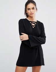 Daisy Street Shift Dress With Lace Up Front Black