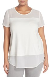 Plus Size Women's Vince Camuto Chiffon Inset Knit Top