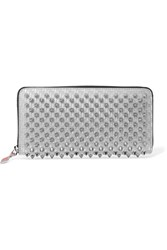 Christian Louboutin Panettone Spiked Glittered Metallic Leather Continental Wallet Silver