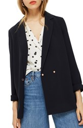 Topshop Ava Double Breasted Jacket Navy Blue