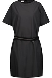 Brunello Cucinelli Belted Cotton Blend Dress Charcoal
