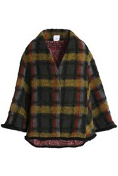 Stella Jean Checked Brushed Wool Blend Cape Army Green