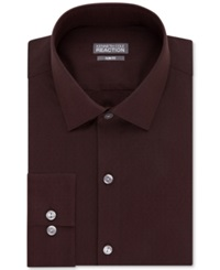 Kenneth Cole Reaction Slim Fit Performance Mahogany Solid Dress Shirt