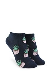 Forever 21 Happy Plant Graphic Ankle Socks Navy Multi