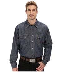 Ariat Fr Denim Work Snap Shirt Slate Men's Long Sleeve Button Up Metallic