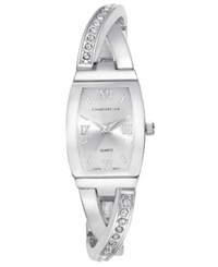 Charter Club Women's Silver Tone Twisted Pave Bangle Bracelet Watch 20Mm Only At Macy's
