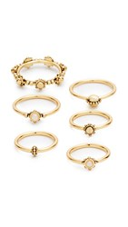 Luv Aj The Baroque Stack Ring Set Antique Gold