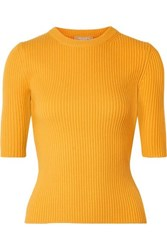Michael Kors Collection Ribbed Cashmere Blend Sweater Yellow